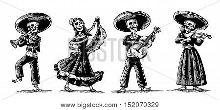 Day of the Dead Dia de los Muertos. The skeleton in the Mexican national costumes dance sing play the guitar violin trumpet. Vector vintage engraving for poster label. Isolated white background