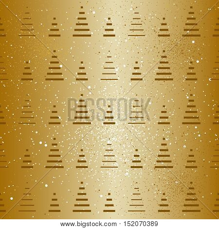 Christmas tree repeat pattern. Gold. Vector background.