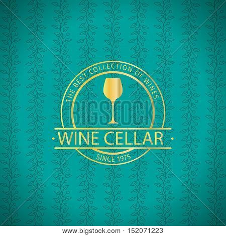 Wine cellar decorative turqiouse card design with golden label. Vector illustration