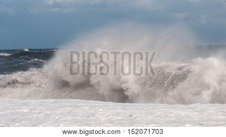 Dangerous Atlantic Ocean waves during a windstorm at black beach in Iceland.