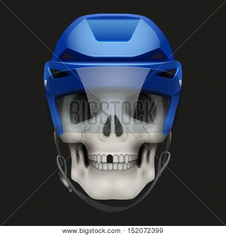 Vector Human skull with ice hockey helmet. Sport mascot or football game symbol. Vector Illustration on isolated dark background