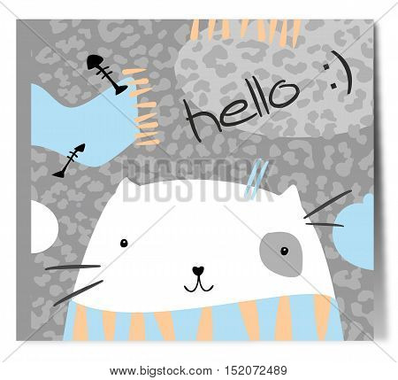 Pretty white cat in scarf. Simple vector drawing.