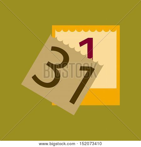 flat illustration on stylish background of tear-off calendar