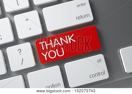 Thank You Concept Modern Keyboard with Thank You on Red Enter Key Background, Selected Focus. 3D Illustration.