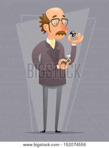 Jeweler and Valuer Appraiser Quality Check Process Icon Retro Cartoon Design Vector Illustration