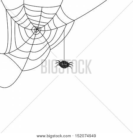 Halloween monochrome spider web and funny spider isolated on white background. Hector venom cobweb set. Vector illustration.