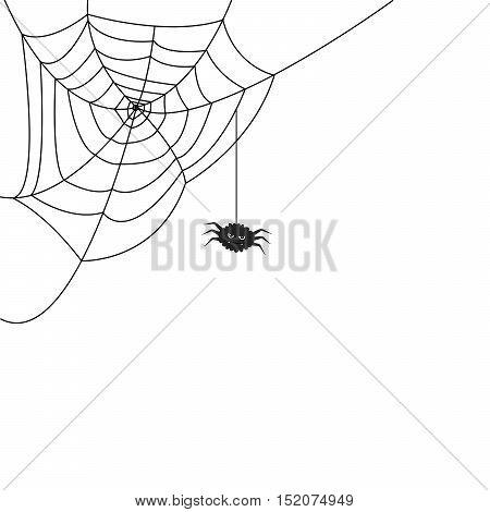Halloween monochrome spider web and funny spider isolated on white background. Hector venom cobweb set. Vector illustration.