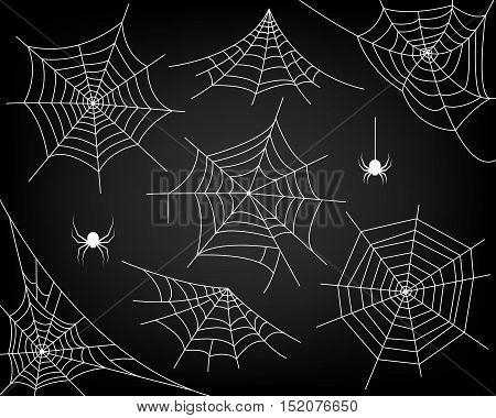 Halloween monochrome spider web and spiders isolated on black background. Hector venom cobweb set. Vector illustration