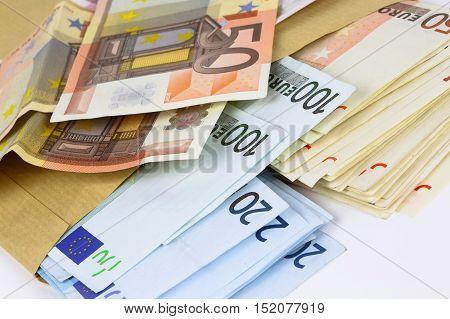 Envelope Full Of Euro Cash
