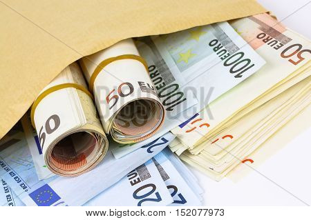 Envelope Full Of Euro Cash