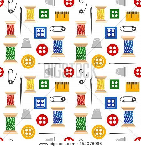 Vector illustration seamless pattern of a set of tools for sewing and needlework spool thread needle button pin and more. Color illustration with black outline isolated for a tailor and a seamstress