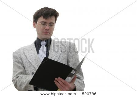 Businessman With Opened Folder