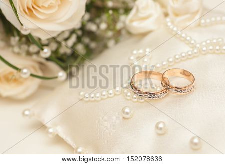 Wedding Rings On Satin Pillow