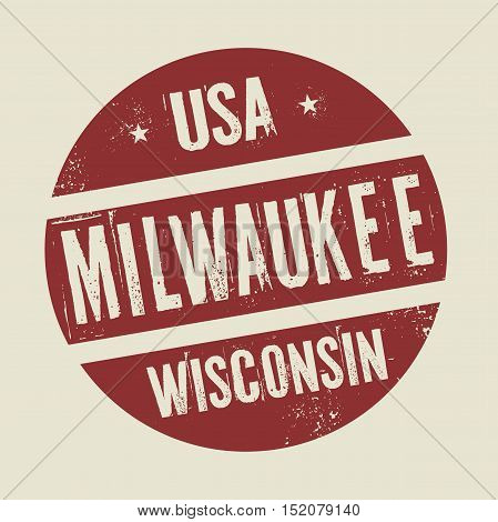 Grunge vintage round stamp with text Milwaukee Wisconsin vector illustration