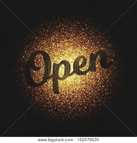 Open. Bright golden shimmer glowing round particles vector background. Scatter shine tinsel light explosion effect.  Lettering and calligraphy artwork illustration