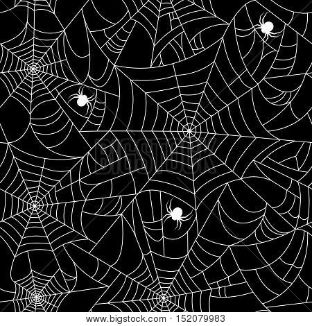 Halloween spider web seamless pattern with white spiders. Vector seamless background. Black background and white cobweb. Seamless vector background. Halloween invitation and paper. Happy Halloween Poster.