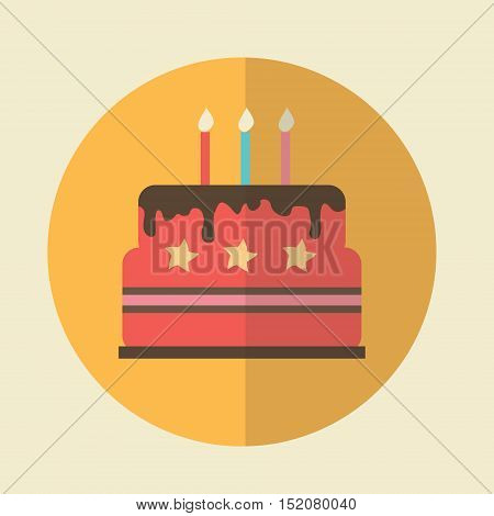 Birthday Cake Illustration - Flat Icon. Vector birthday cake icon. Birthday cake with candles. Birthday cake isolated design template.