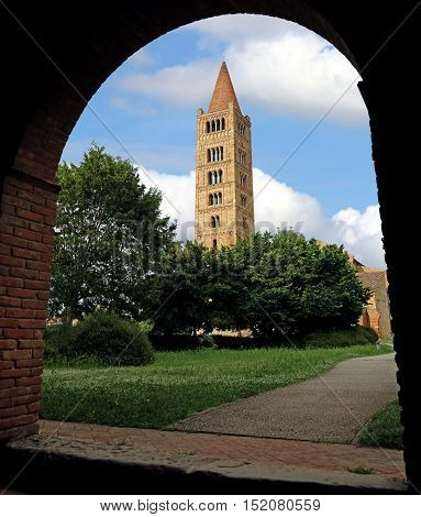 Ancient Bell Tower Of The Abbey Of Pomposa In Central Italy