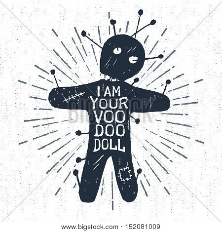 Hand drawn Halloween label with textured voodoo doll vector illustration and
