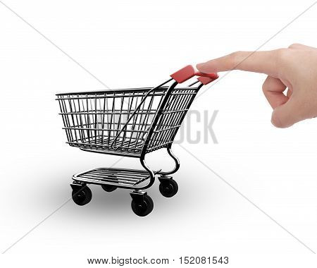 Woman Forefinger Pushing Small Empty Shopping Cart Side View