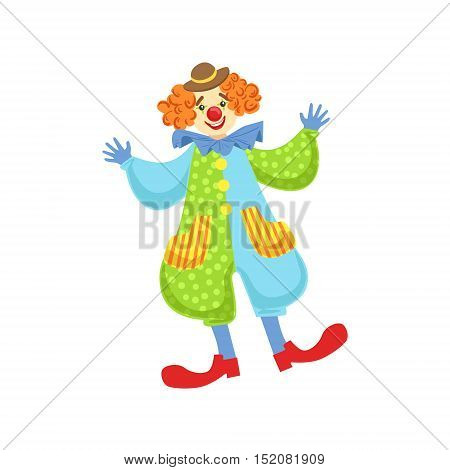 Colorful Friendly Clown In Bowler Hat In Classic Outfit. Childish Circus Clown Character Performing In Costume And Make Up.