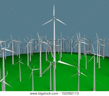 field plurality of wind turbines. 3d rendering