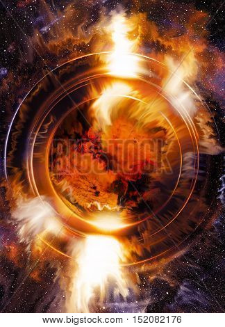 Cosmic space and color circle effect with planet, color background