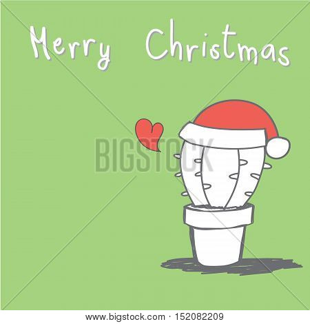 cute hand drawn cactus with red heart and Merry Christmas greeting card vector