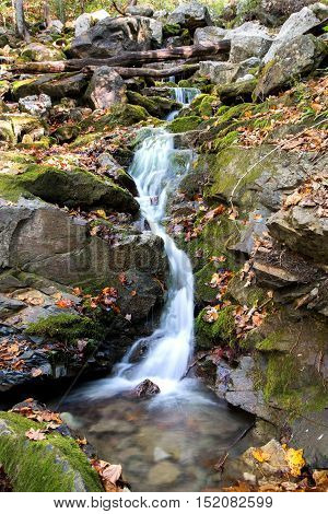Water flowing over rock in a small appalachian stream.