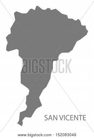 San Vicente El Salvador Map grey illustration high res