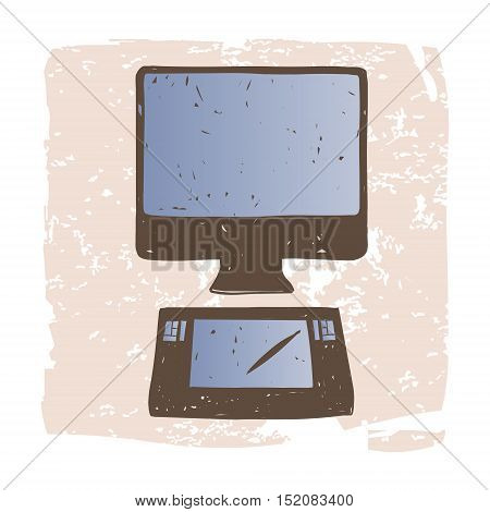 Designer Workplace computer and graphics tablet. Vector