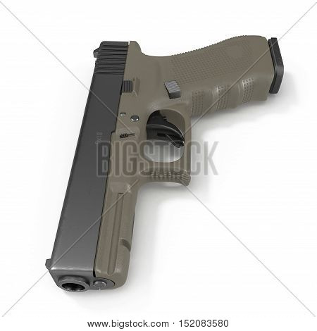 Semi-automatic pistol isolated on a white background. 3D illustration