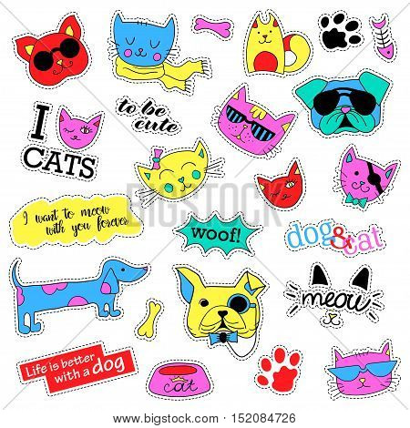 Pop art set with fashion patch badges. Cats and dogs Stickers, pins, patches, quirky, handwritten notes collection. 80s-90s style. Trend. Vector illustration isolated. Vector clip art.