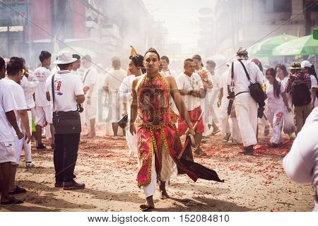 Phuket- Oct 07 : Taoists Participate In A Street Procession Of The Phuket Vegetarian Festival On Oct