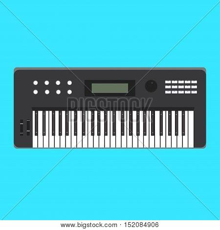 Analog synthesizer music sound vector flat keyboard