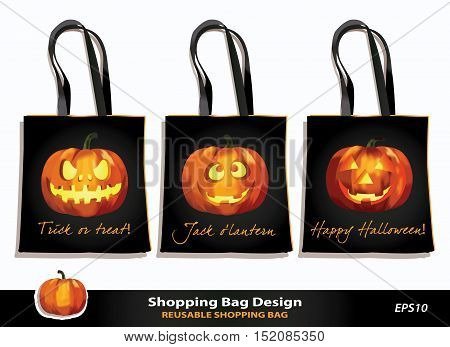 Halloween reusable shopping bag design. Vector template. Kid's bag set for Trick-or-Treat game. Jack o`lantern pumpkins with scary & funny faces against black background. Sample text. Pumpkin icon.