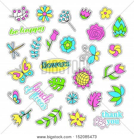 Pop art set with fashion patch badges. Flowers set. Stickers, pins, patches, quirky, handwritten notes collection. 80s-90s style. Trend. Vector illustration isolated. Vector clip art