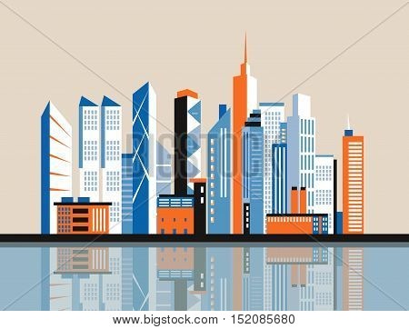 City downtown landscape. Skyscrapers in the city. Flat vector illustration. Business center. Geolocation area. Modern architecture. Vintage style.