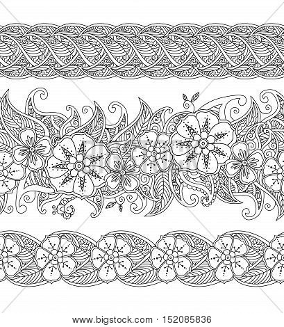 Set of seamless pattern floral borders isolated on white background. Black and white zentangle hand drawn doodle style. Coloring book for adult and children. Editable vector illustration.