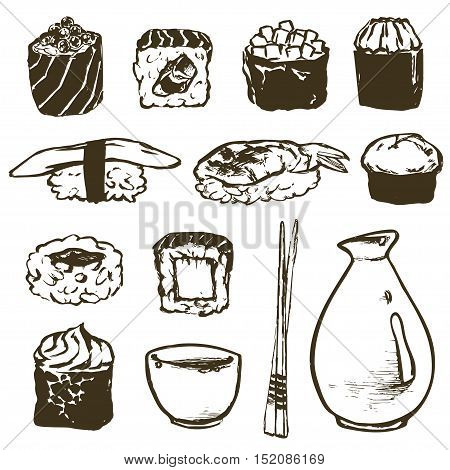 Vector Set Sushi rolls and japanese seafood l with salmon, smoked eel, selective food vector. Asia cuisine restaurant delicious. Illustration for menus, recipes and packages product