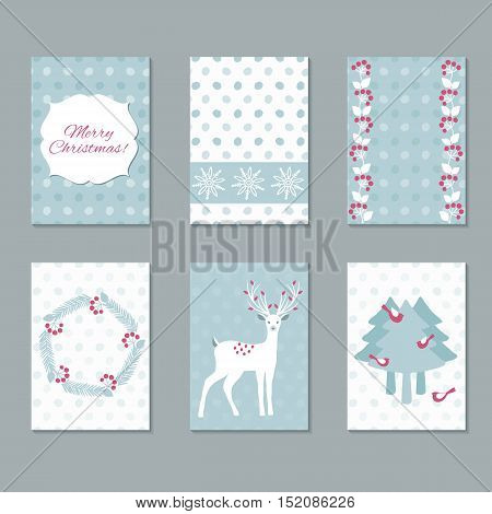 Set of Christmas Cards for your Christmas design. Vector illustration.