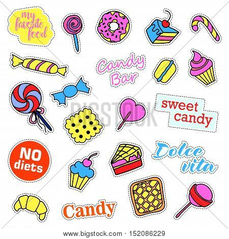 Pop art set with fashion patch badges. Stickers, pins, patches, quirky, handwritten notes collection. 80s-90s style. Trend. Vector illustration isolated. Vector clip art.