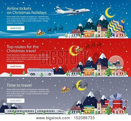 Merry Christmas banners in flat style. Traveling by plane, bus and train. A small town in mountains. The winter vacation. Mountains, buildings, trees and snow. Christmas travel vector illustration