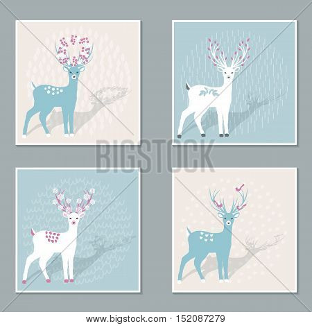Set of Christmas cards with Deer for your Christmas design. Vector illustration.