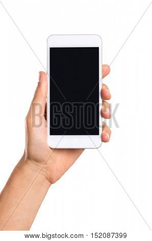 Hand holding white smart phone with blank screen isolated on white background. Close up of hand showing smartphone with black screen. Hand holding cellphone with empty screen.