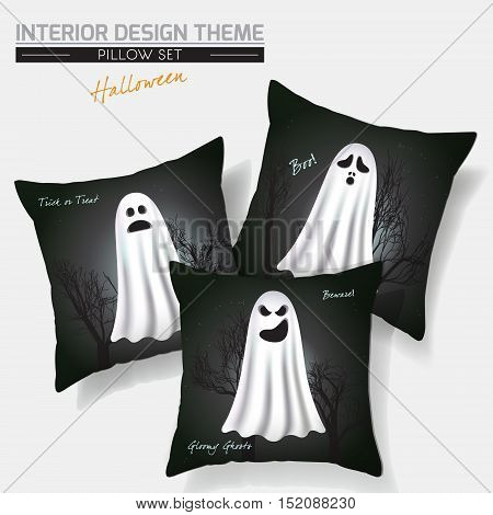 Halloween Throw Pillow set design. Vector template. Flying Spooky Ghosts with scary & funny faces against dark Gothic background. Creative Sofa Pillows. Vector design is layered, editable. Sample text