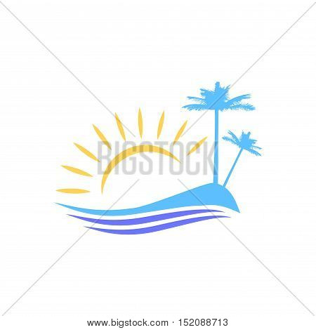 Symbolic vector image. Island with palm trees for tourists and vacationers. The rising of the sun. The waves on the shore.