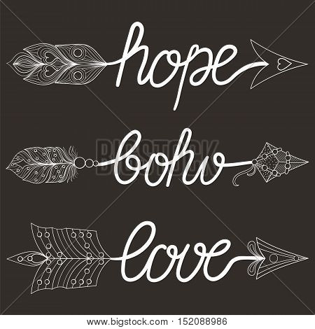 Boho, Love, Hope Arrows  with feathers. Decorative Arrows for adult coloring pages, art therapy, ethnic patterned t-shirt print, Bohemian chic tribal style. Doodle Illustration, tattoo design.