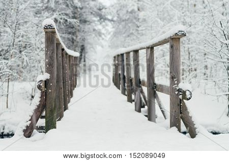 Wooden bridge covered by snow in wintery forest