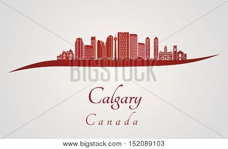 Calgary skyline in red and gray background in editable vector file